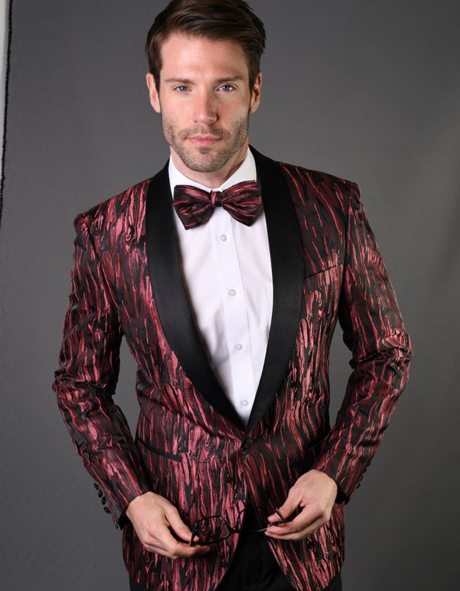 Mens Geometric Metallic Pattern Tuxedo in Burgundy