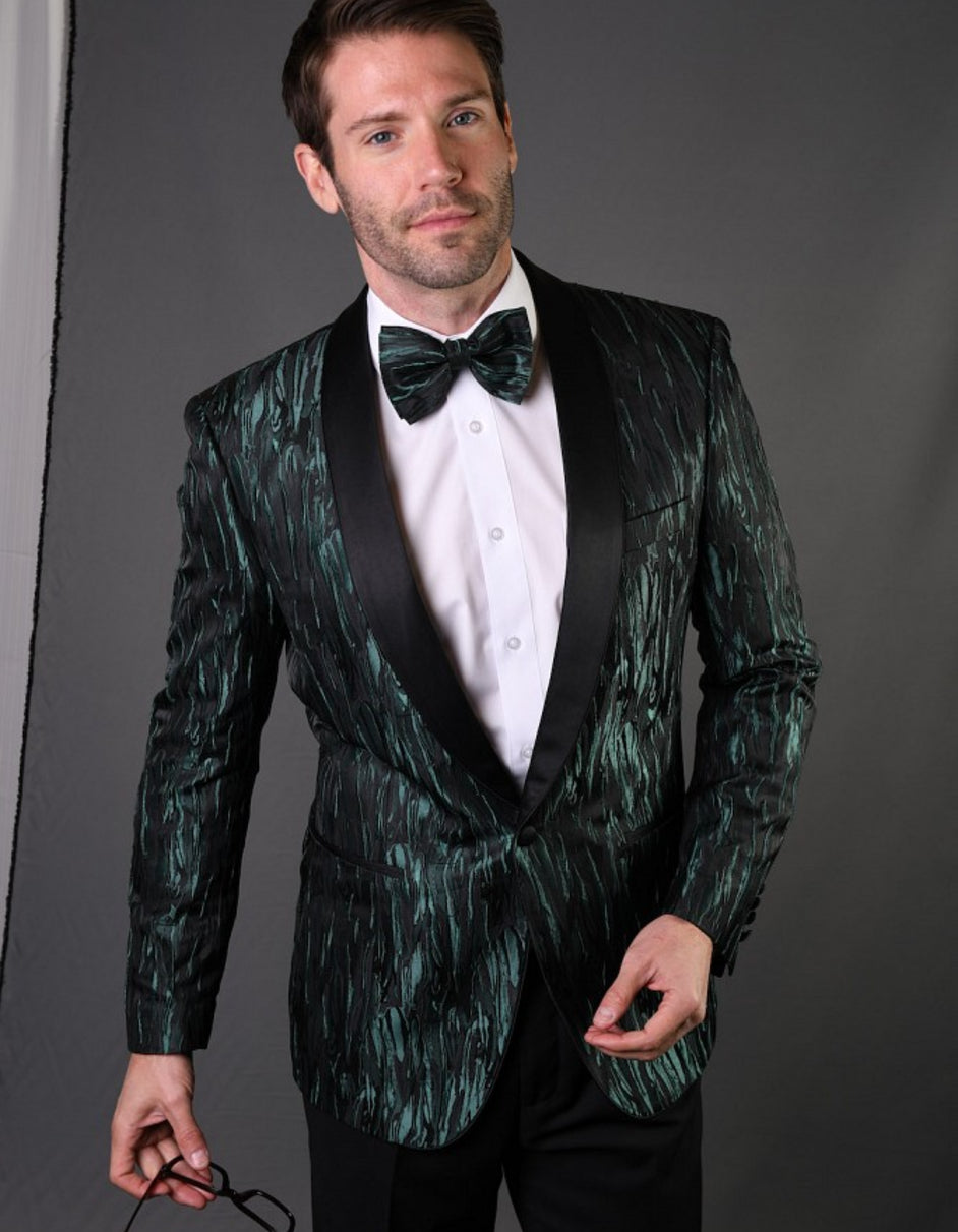 Mens Geometric Metallic Pattern Tuxedo in Green
