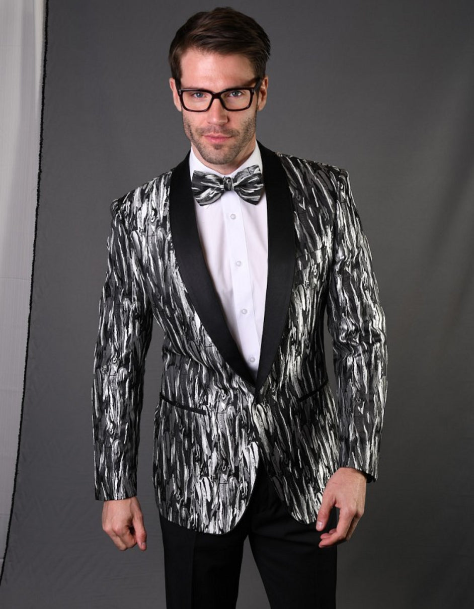 Mens Geometric Metallic Pattern Tuxedo in Silver Grey