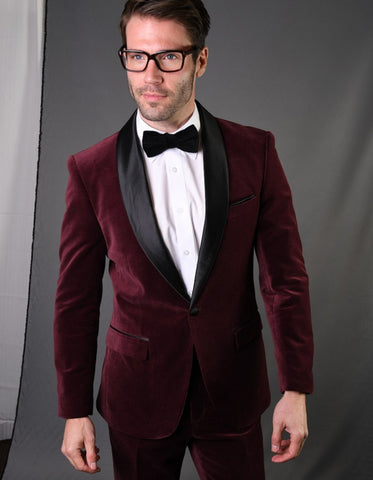 Mens 1 Button Shawl Lapel Velvet Tuxedo in burgundy