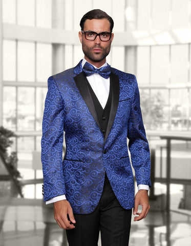 Mens Swirl Paisley Prom Tuxedo in Royal Blue & Black