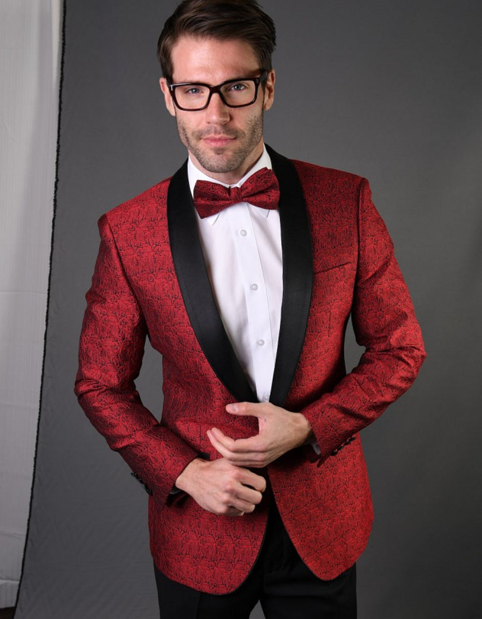 Mens Geometric Lace Pattern Tuxedo in Red