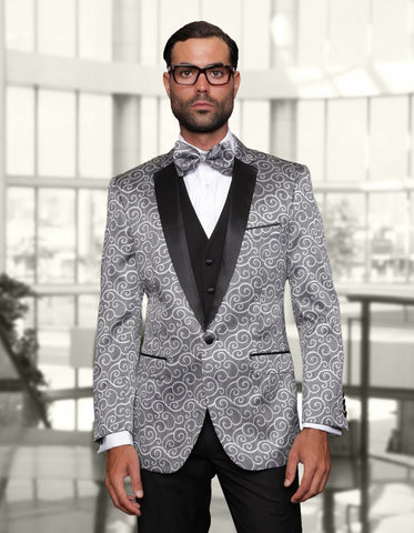 Mens Swirl Paisley Prom Tuxedo in Silver Grey & Black