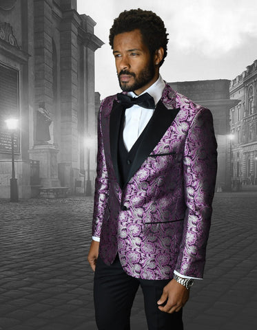 Mens Shiny Flower Pattern Paisley Tuxedo in Lilac