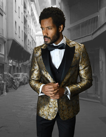 Mens Shiny Flower Pattern Paisley Tuxedo in Gold