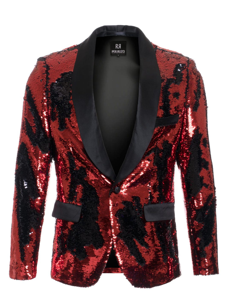 1 Button Reversible Sequin Blazer In Red and Black