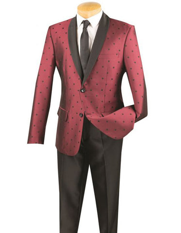 Mens 2 button Polka Dot Shawl Lapel Tuxedo in Burgundy