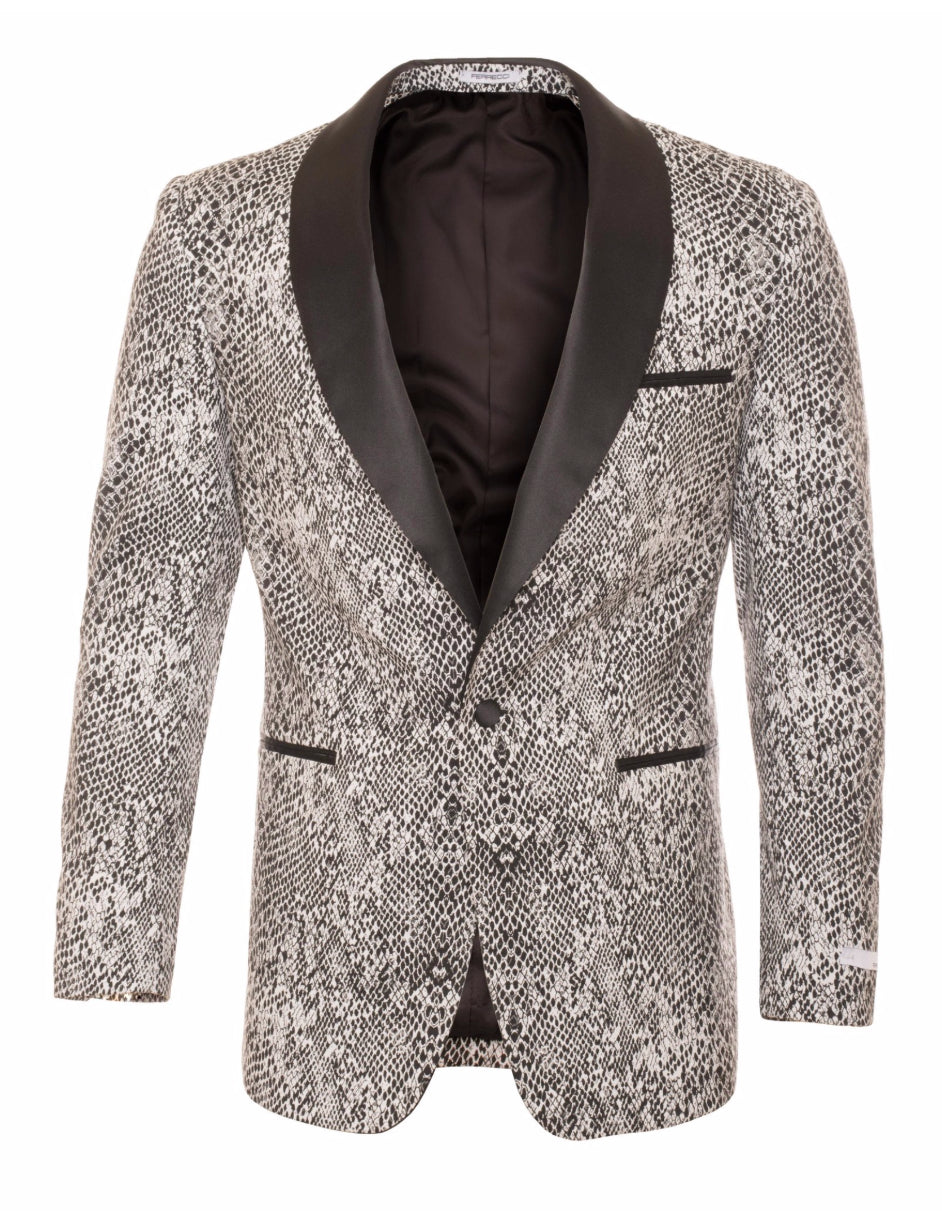 Mens 1 Button Snake Skin Tuxedo Dinner Jacket in Natural