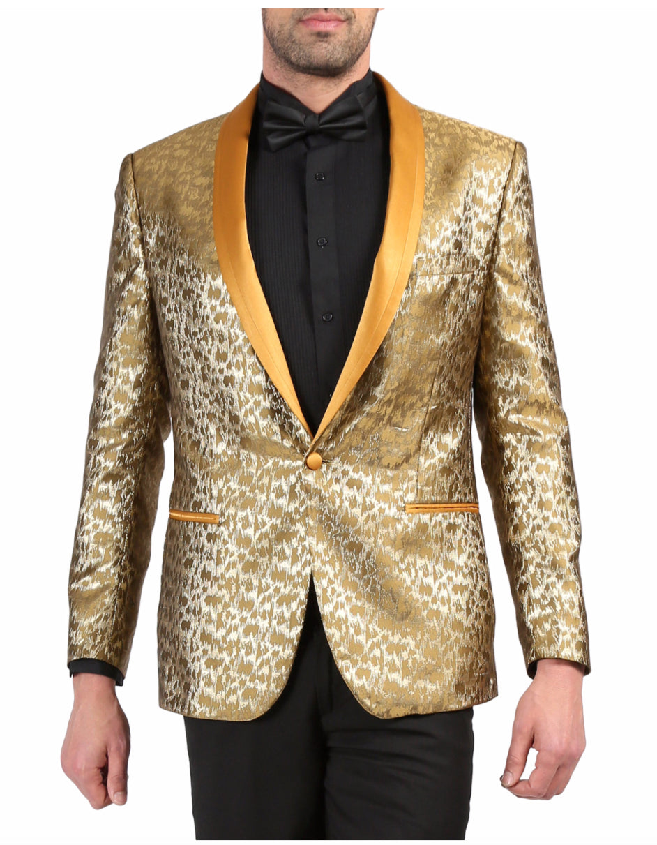 Mens One Button Geometric Print Tuxedo Dinner Jacket in Gold
