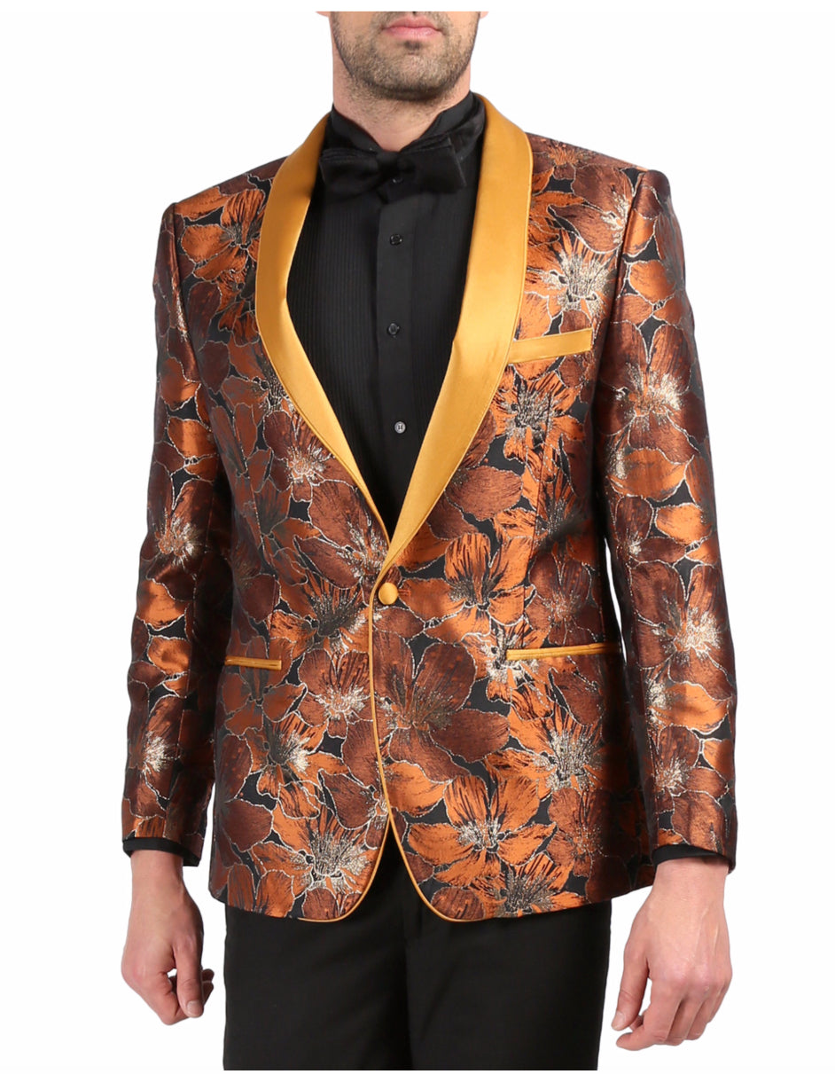 Mens One Button Floral Tuxedo Dinner Jacket in Orange & Gold