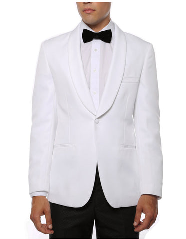 Mens One Button Shawl Collar Dinner Jacket White