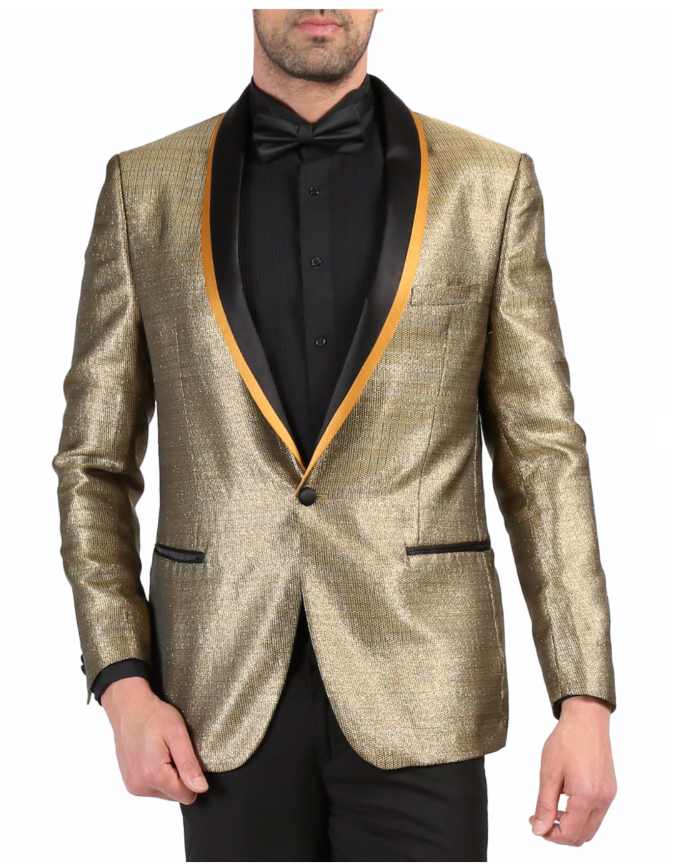 Mens One Button Geometric Print Tuxedo Dinner Jacket in Gold & Black