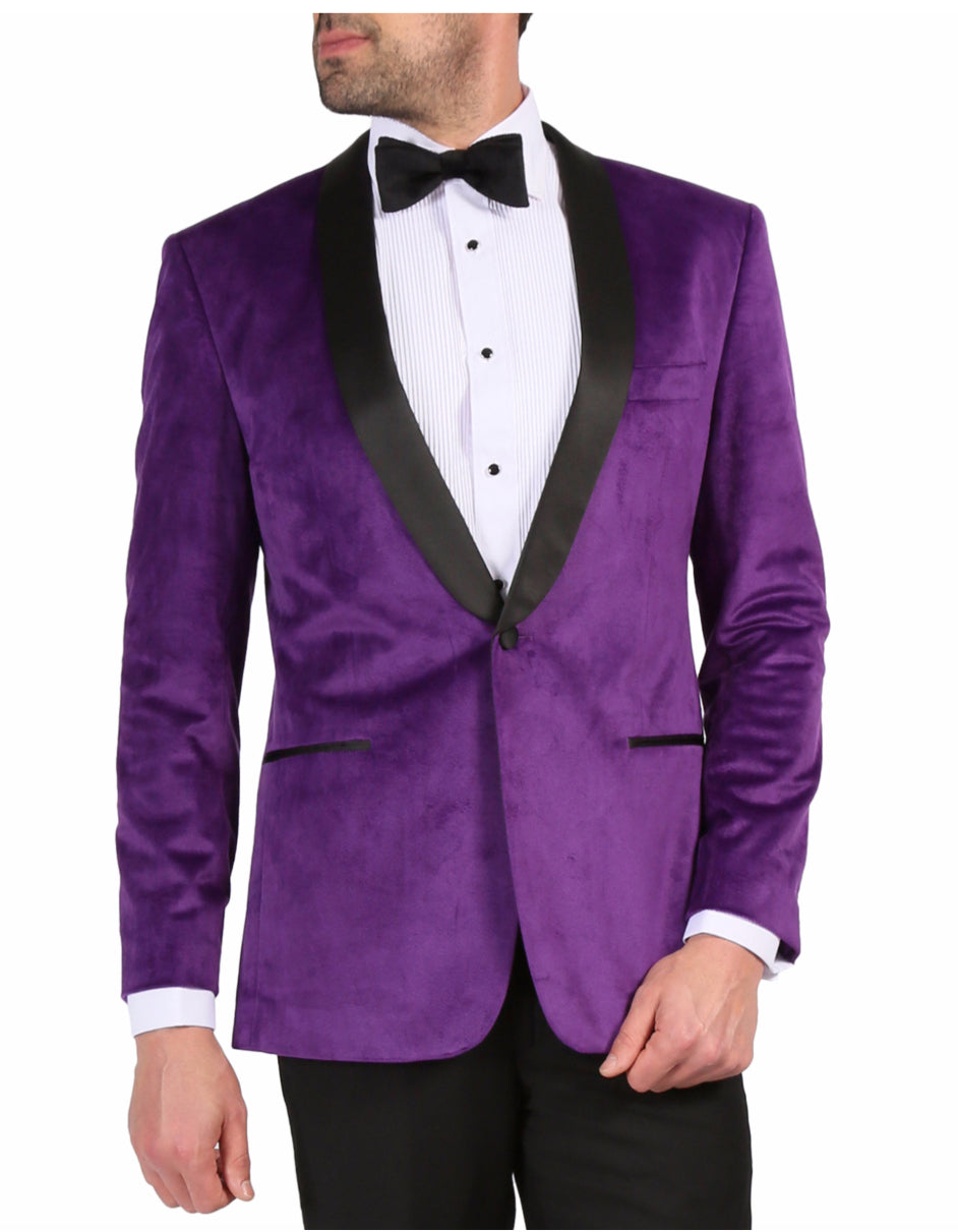 Mens 1 Button Velvet Tuxedo Dinner Jacket in Purple