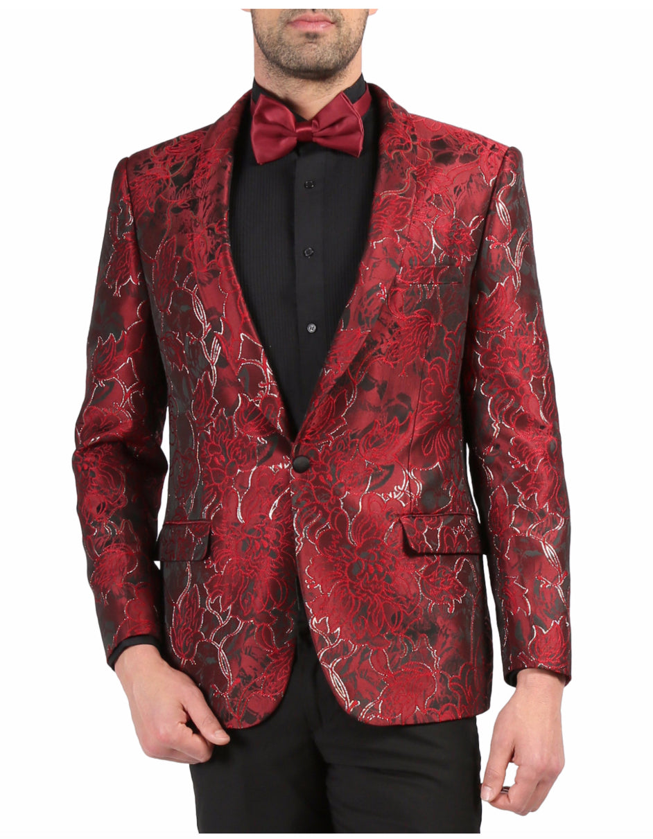 Mens One Button Floral Tuxedo Dinner Jacket in Red