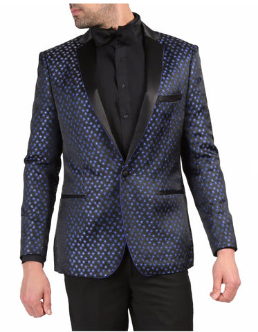 Mens One Button Star Print Tuxedo Dinner Jacket in Black & Navy
