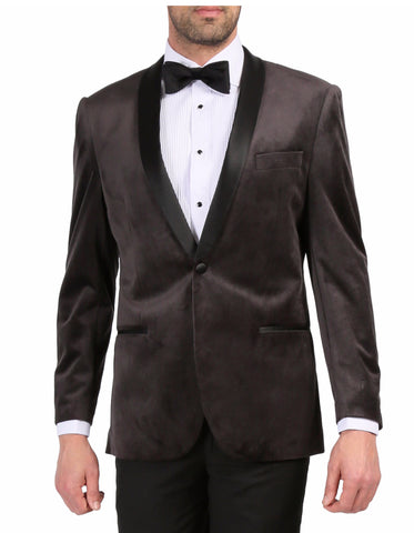 Mens 1 Button Velvet Tuxedo Dinner Jacket in Grey