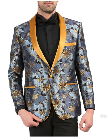 Mens One Button Floral Tuxedo Dinner Jacket in Navy & Gold