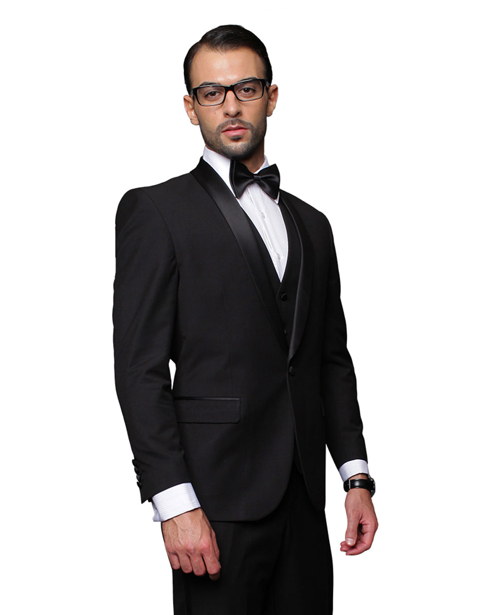 Mens 1 Button Shawl Lapel Vested Wool Tuxedo in Black