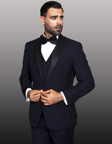 Mens 1 Button Shawl Lapel Vested Wool Tuxedo in Navy Blue