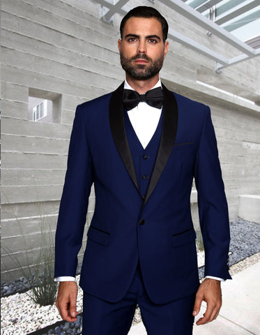 Mens 1 Button Shawl Lapel Vested Wool Wedding - Prom Tuxedo in Sapphire Blue