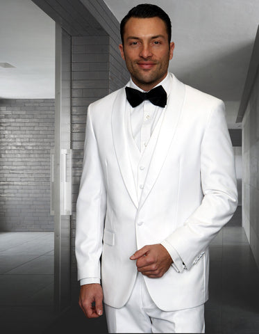Mens 1 Button Shawl Lapel Vested Wool Tuxedo in White