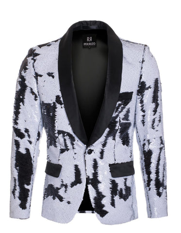 1 Button Reversible Sequin Blazer In White and Black