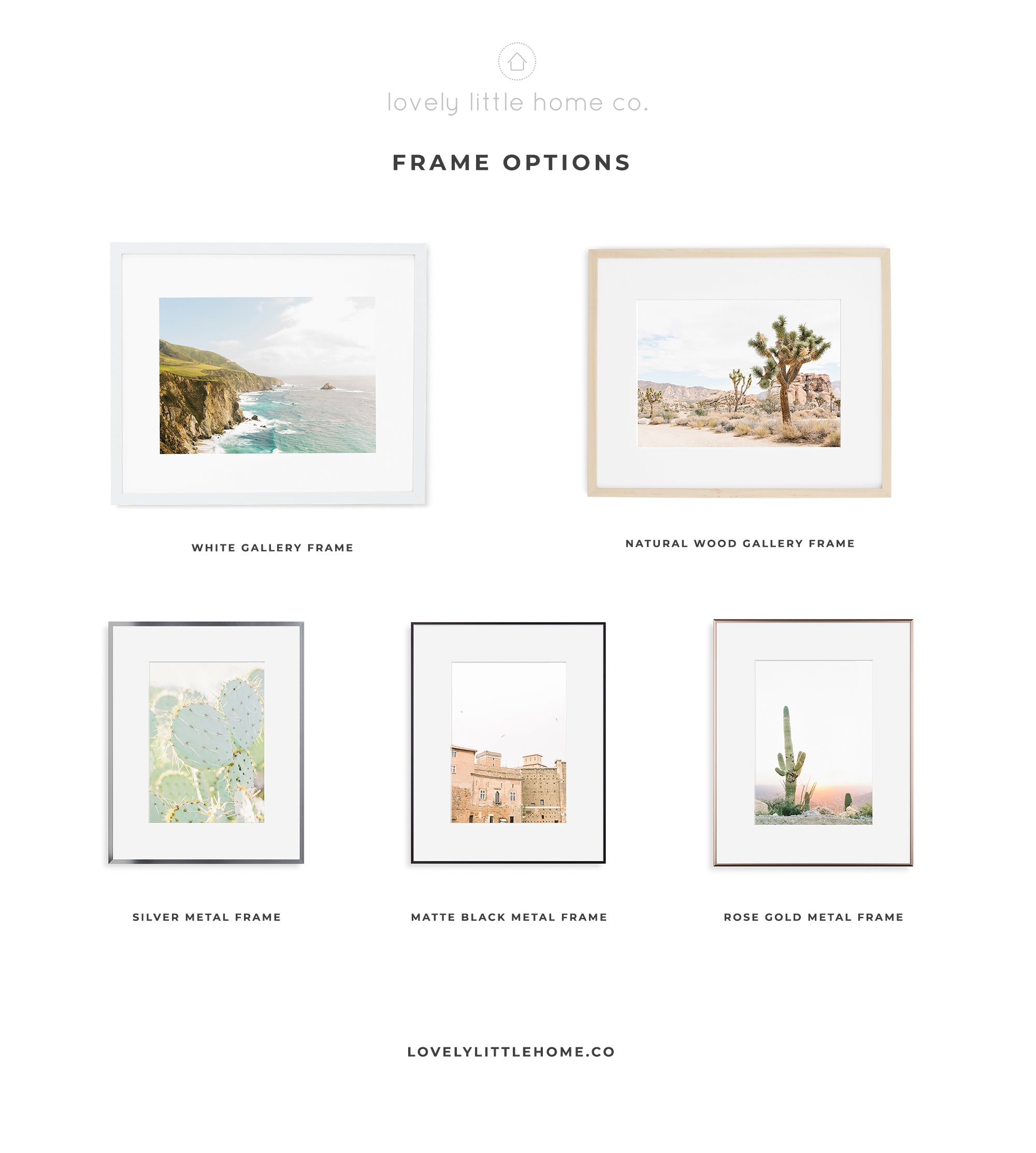 lovely little home co. travel nature photography wall art frame options