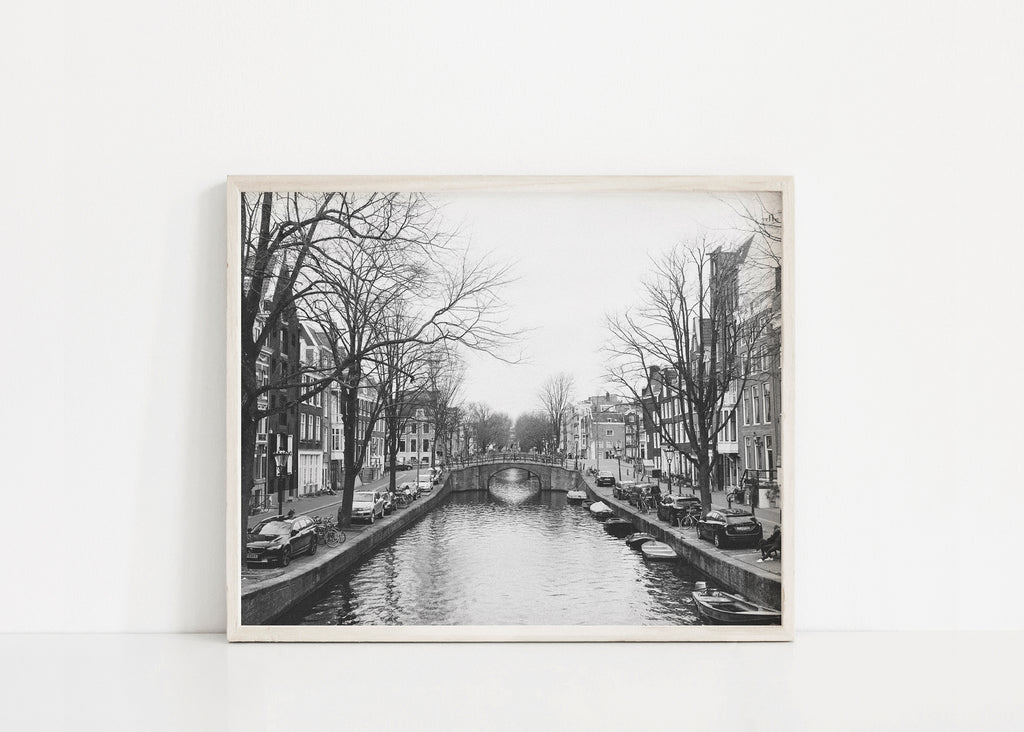 black and white amsterdam canal landscape print