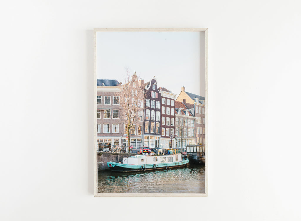 amsterdam canal boat print