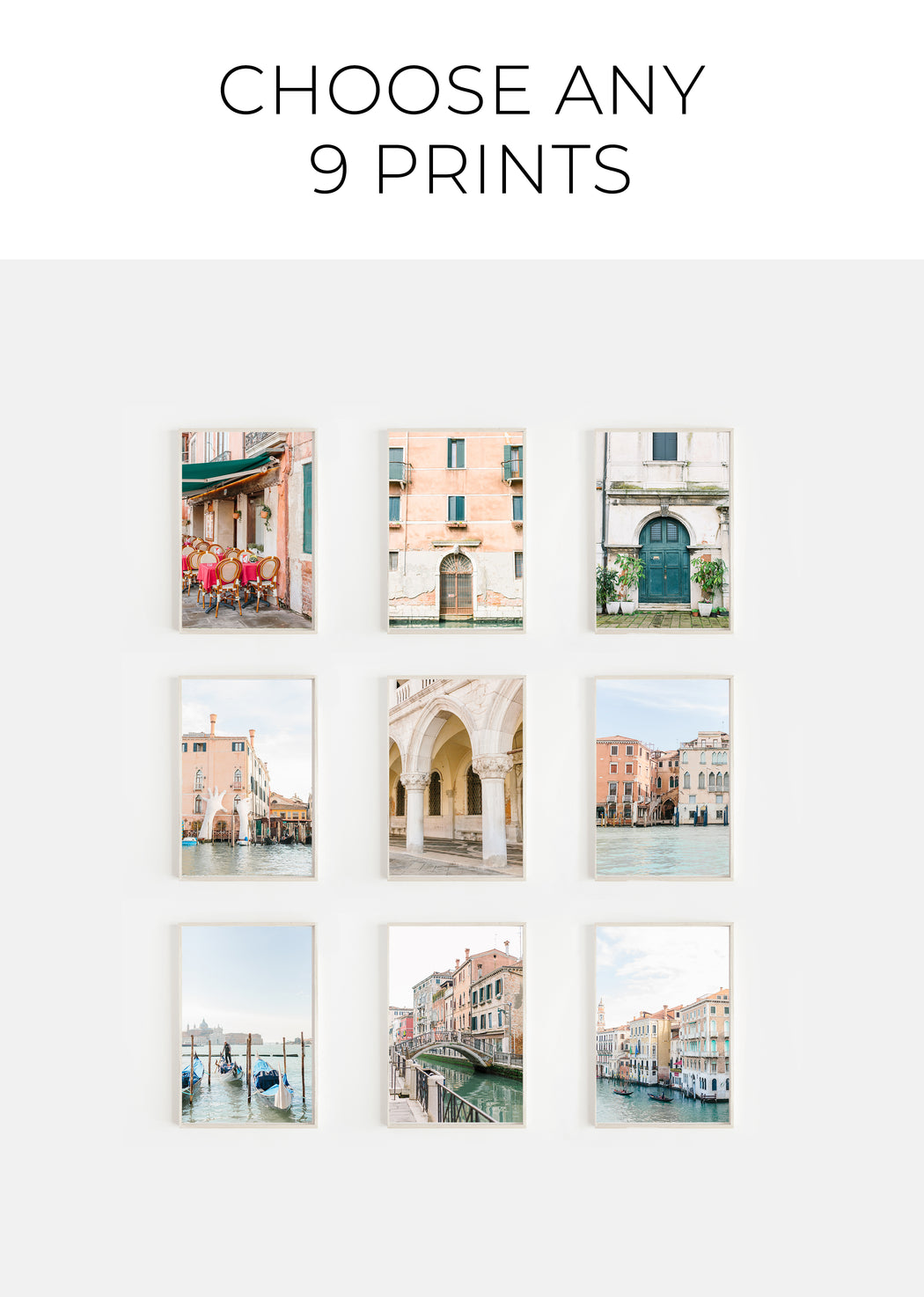 choose any 9 prints | gallery wall print set