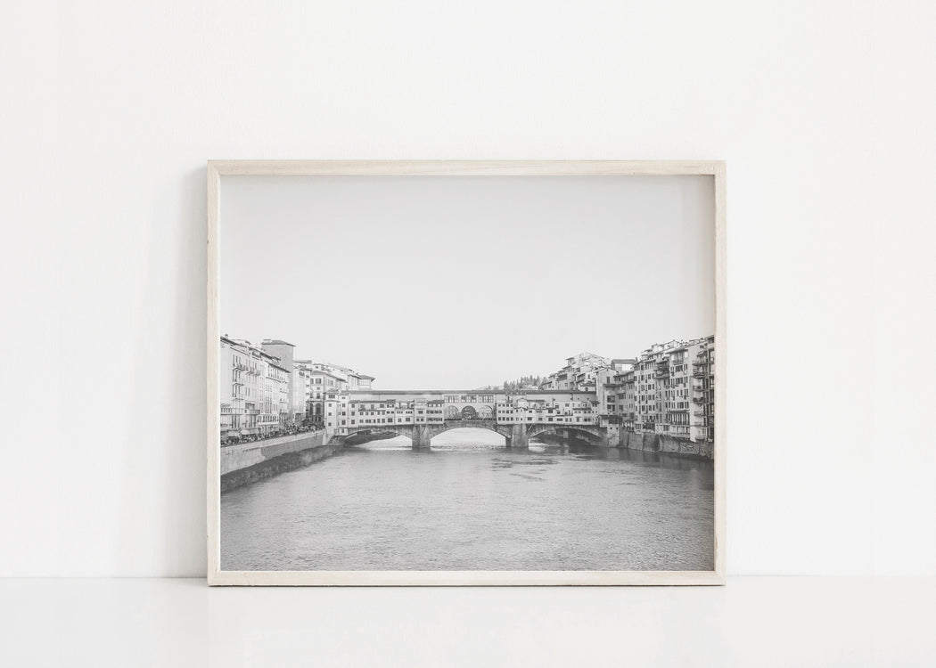 black and white ponte vecchio print
