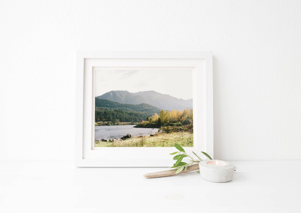 portland mountain lake print