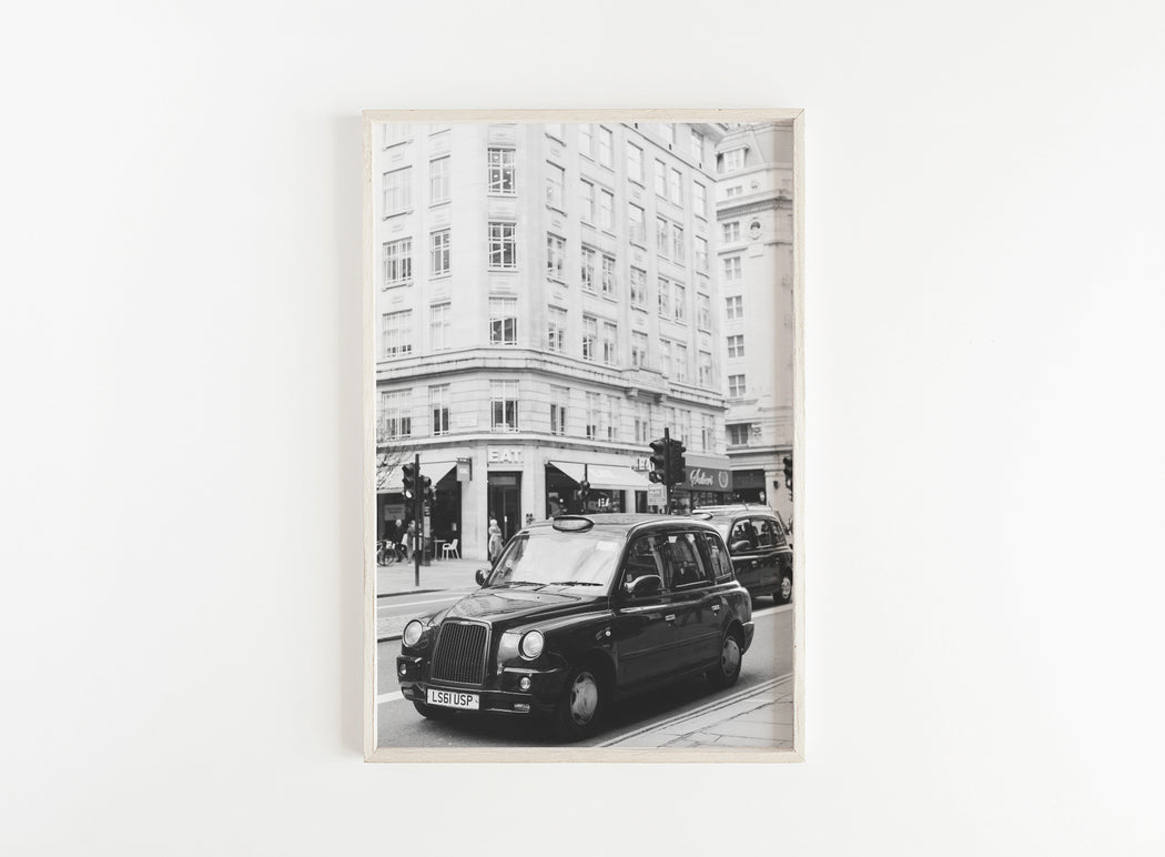 black and white london taxi print