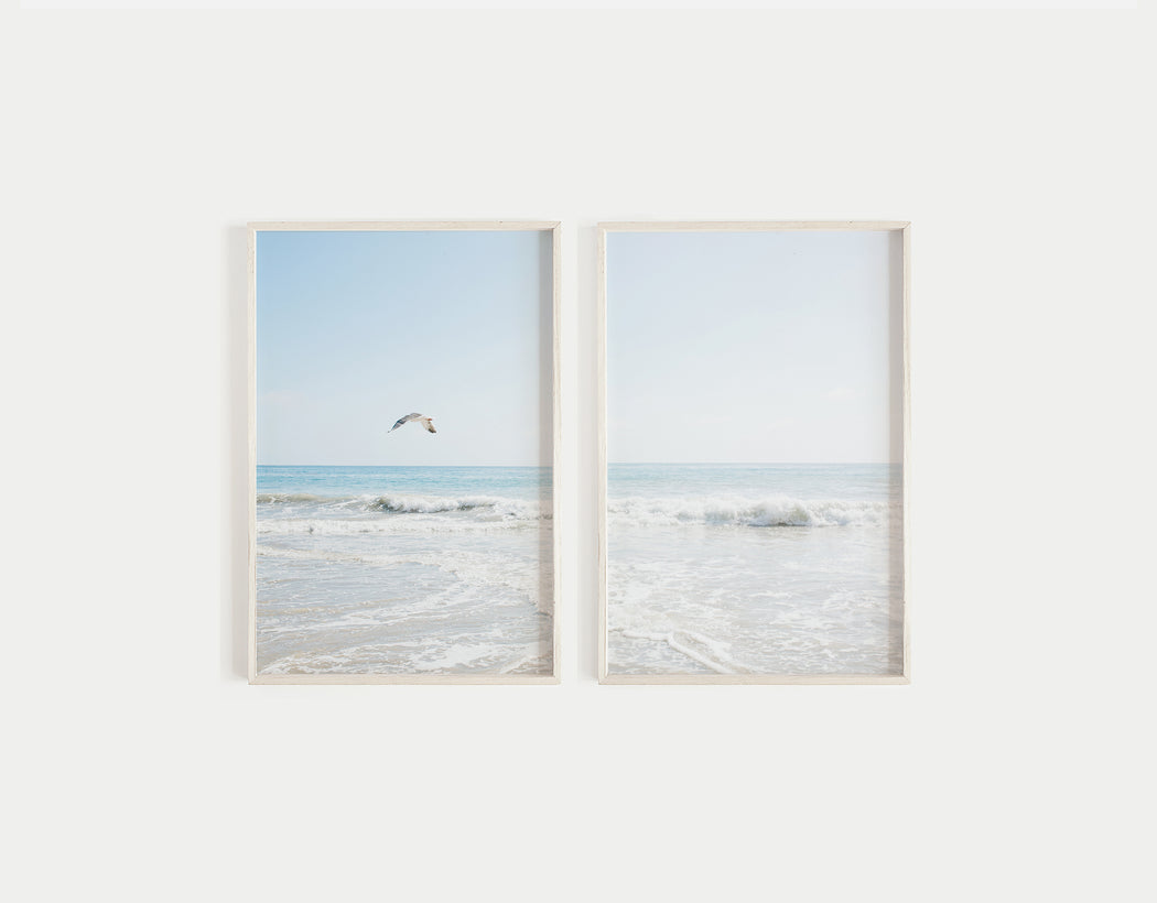 bird over ocean print set of 2