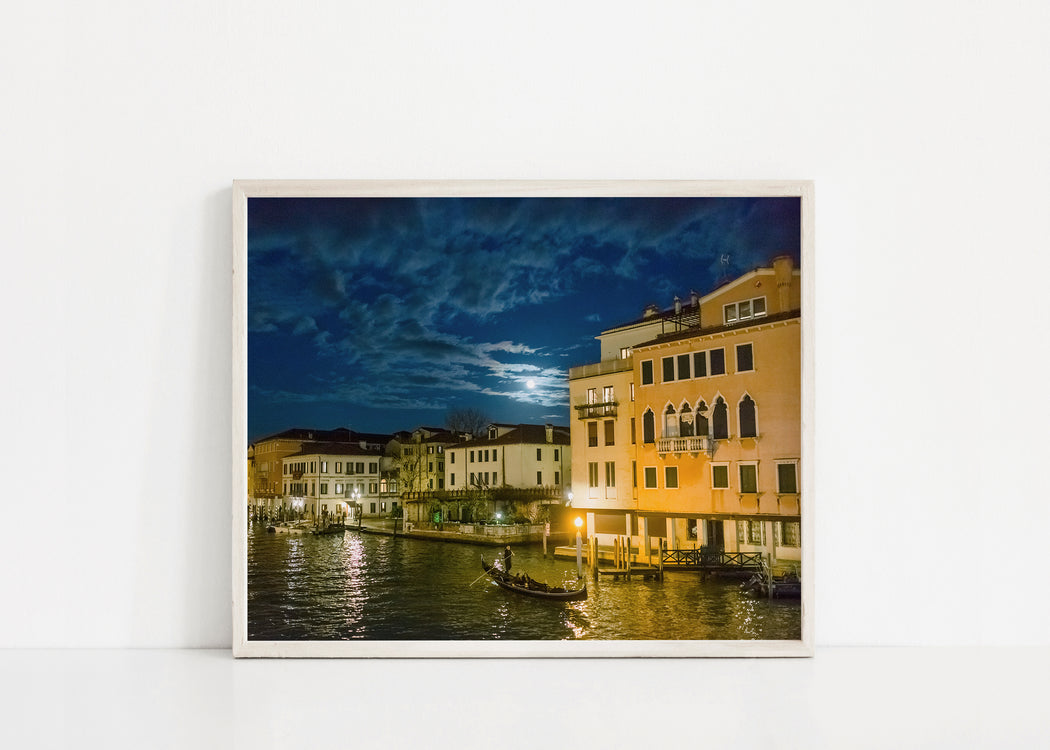 venice italy canal at night print