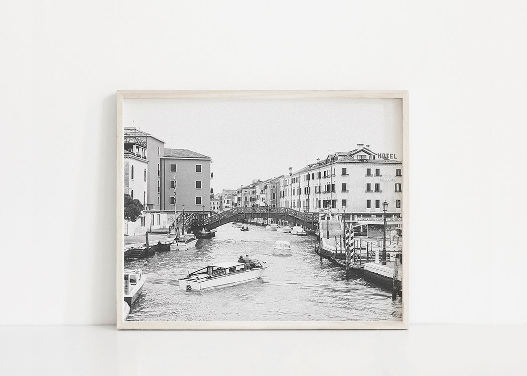 black and white venice canal gondola print