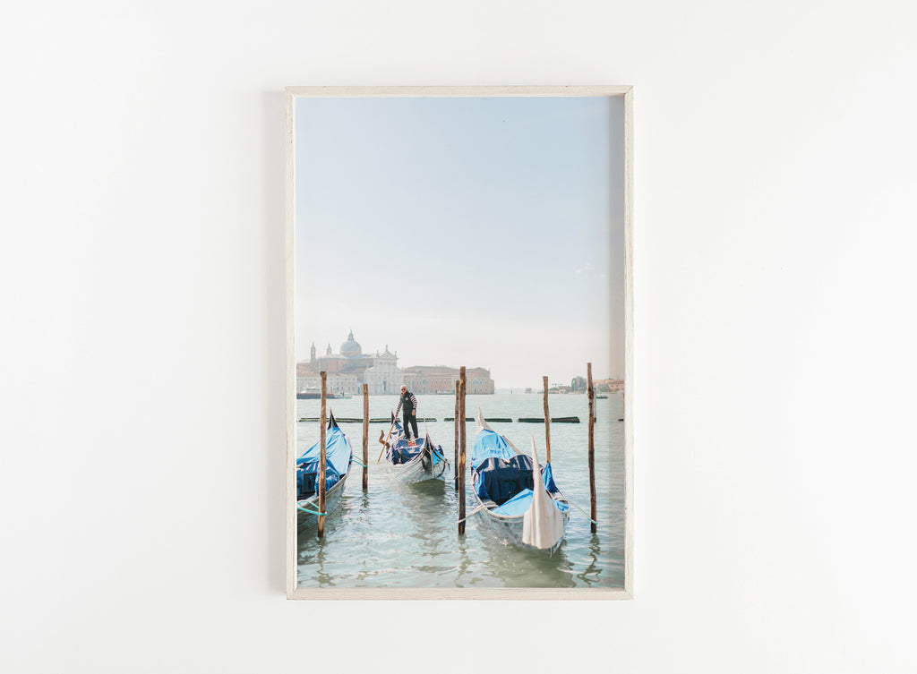 venetian gondolas on water print