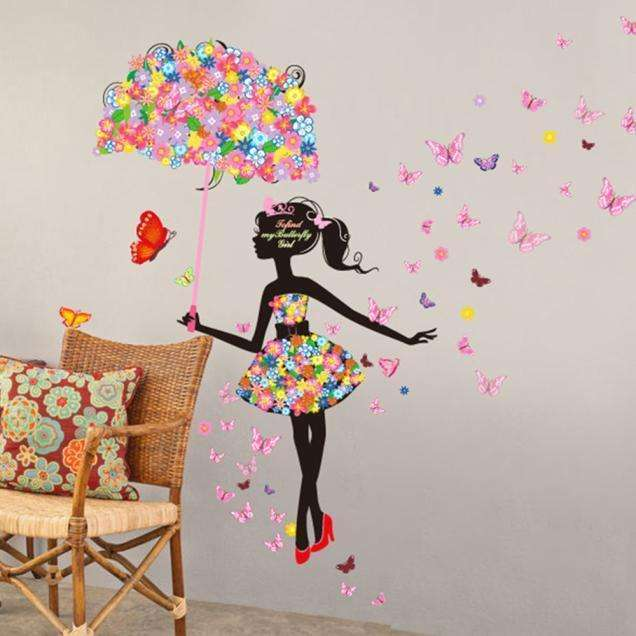 ... Brown Cow Company Wall Sticker New Butterfly Flower Fairy Stickers  Bedroom Living Room Walls Home Decor ...