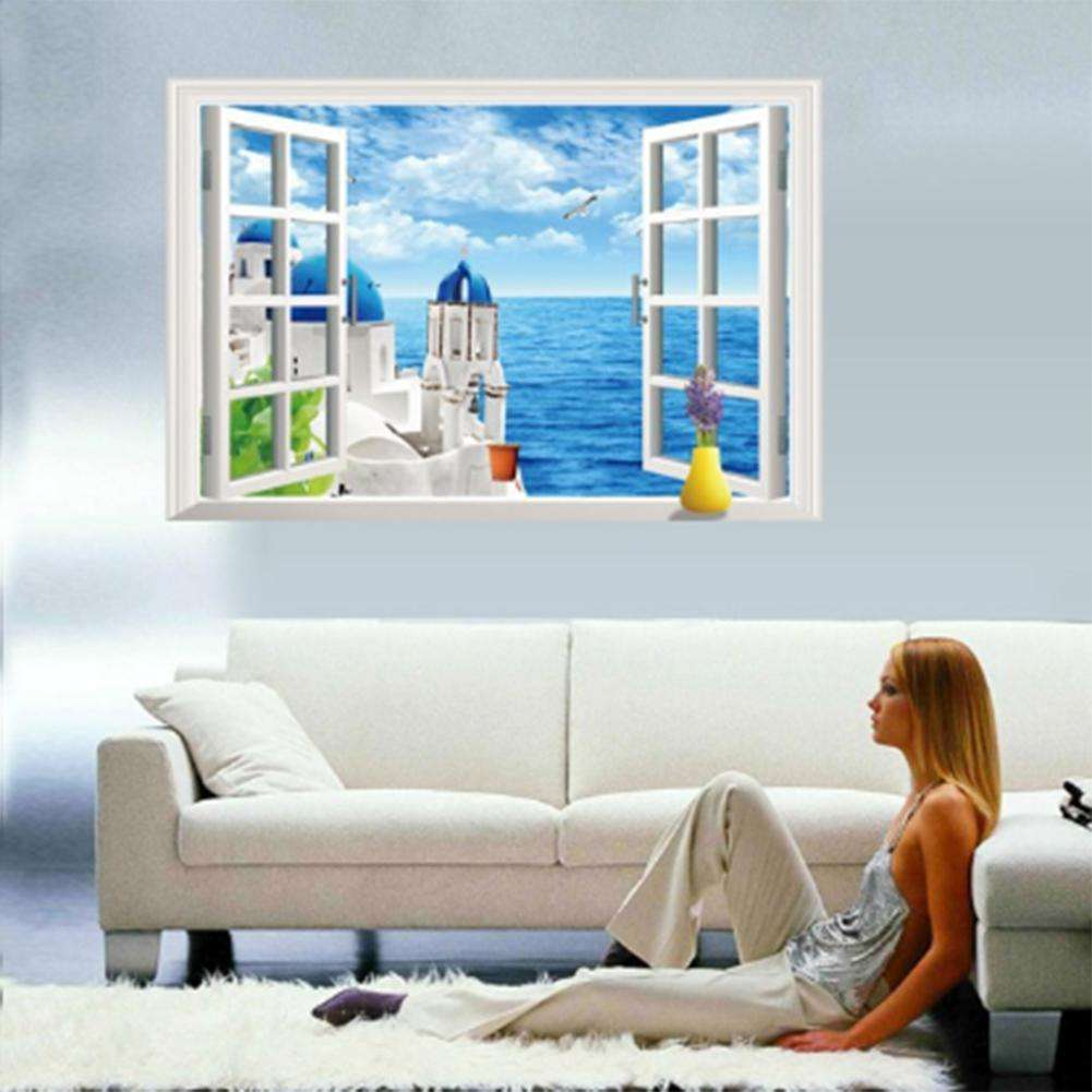 Wall Decals For Home X Cm Living Room Sea Love D - 3d effect wall decals