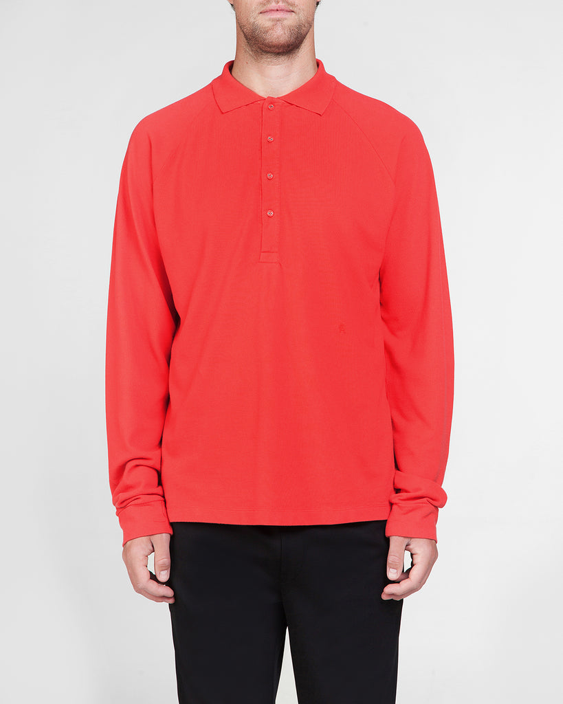 Long sleeve polo red