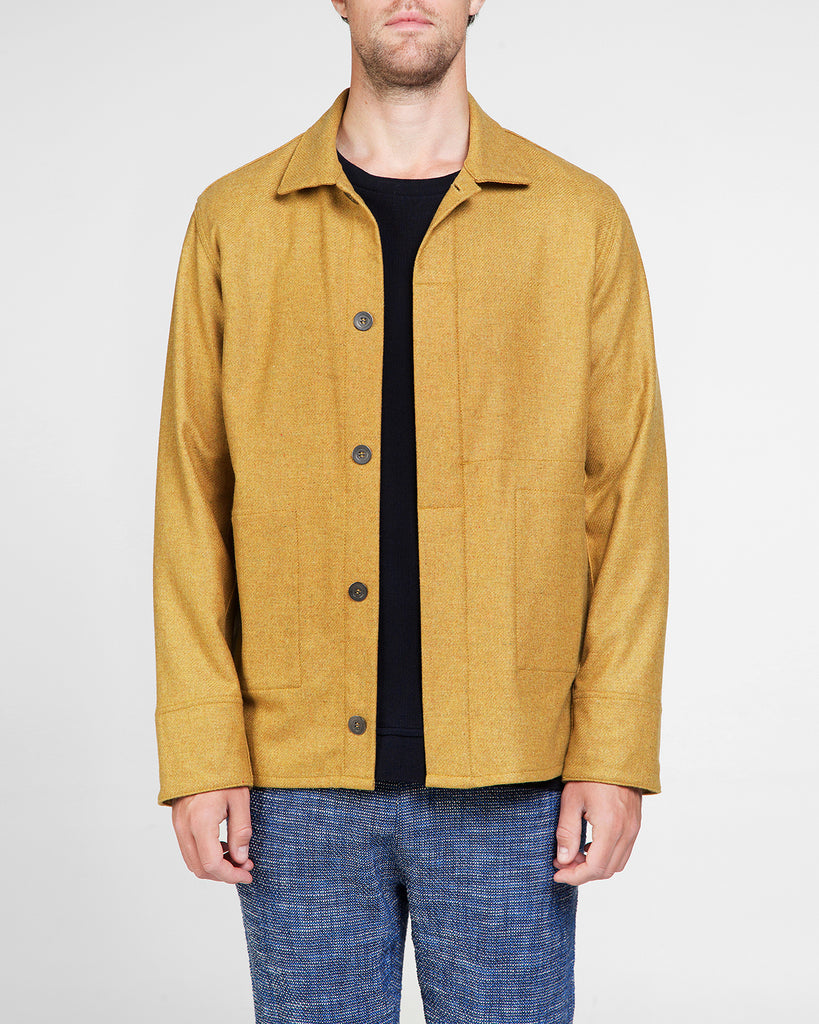 Shetland wool jacket James in ochre