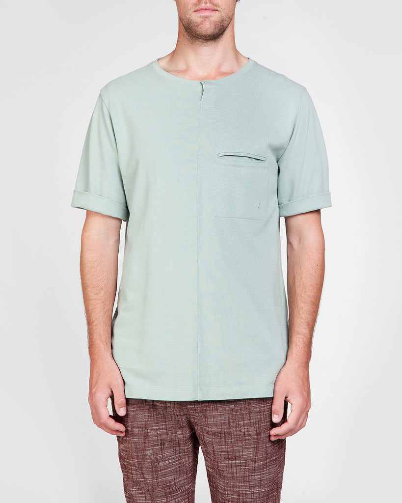 Short Sleeve Shirt Mint with button