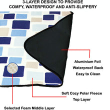 "60"" x 48"" 3-Layer Waterproof Outdoor Blanket/Picnic Blanket - Magic Blue"