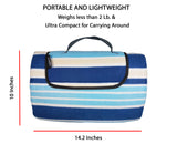 "80"" x 72"" 3-Layer XXLarge Waterproof Outdoor Blanket - Blue Stripe"