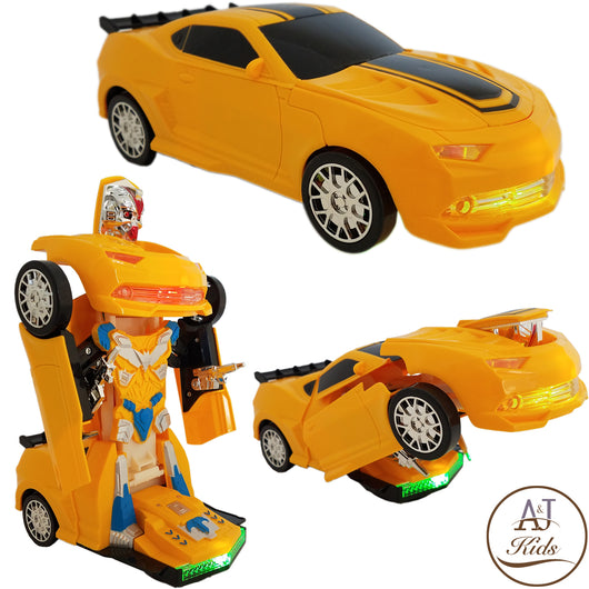 Battery Operated Bump and Go Transformers Toys for Kids - Bumblebee