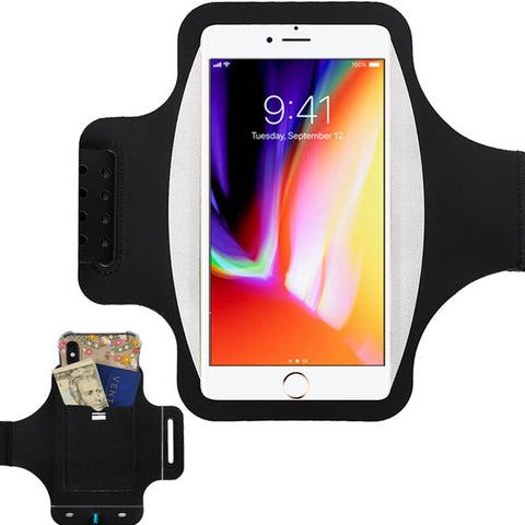Water Resistant Running Armband with Safety Reflective Strips for Phones up to 6.5""