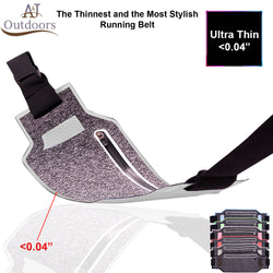 Ultra-Thin Water Resistant Running Belt - Silver