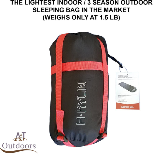 Ultra-Lightweight Indoor / 3 Season Outdoor Sleeping Bag with Covering Hood
