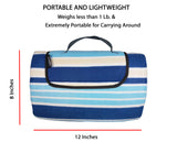 "60"" x 48"" 3-Layer Waterproof Outdoor Blanket/Picnic Blanket - Blue Stripe"