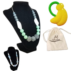 Baby Teething Necklace for Mom with Bonus Baby Teether